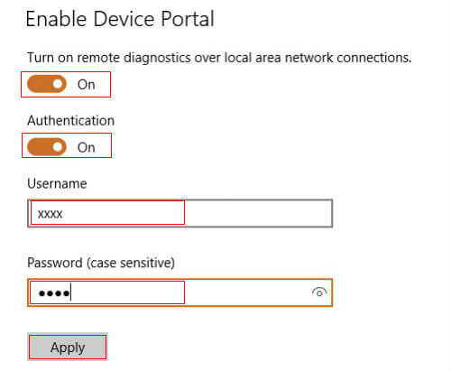 windows 10 device portal remote control