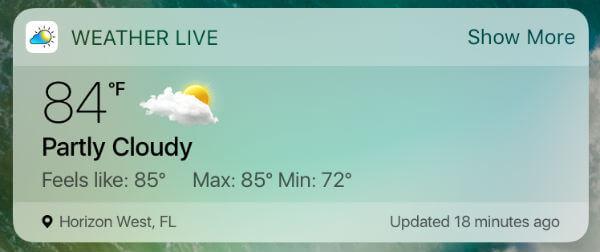 7 Best iPhone Weather Widgets for iOS Notification Area | Mashtips