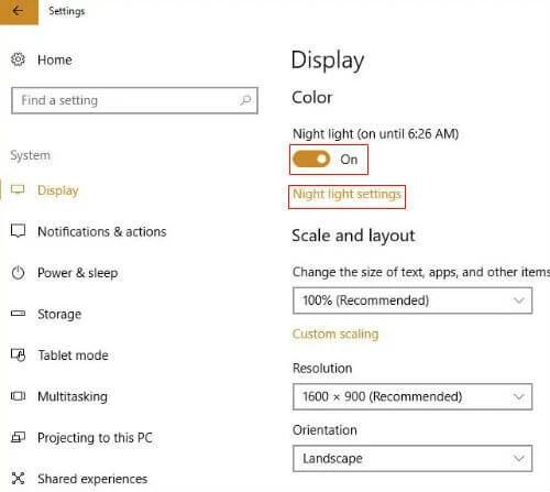 Night Light in Windows 10 Creators Update