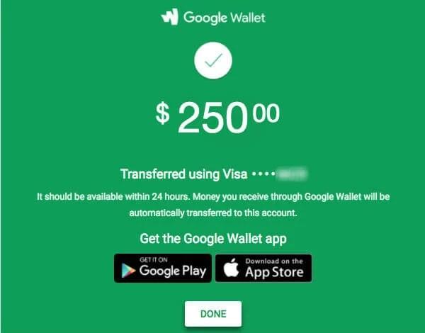gmail money transfer wallet