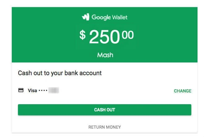 gmail money sent cash out