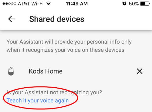 Google Home Teach Voice Again