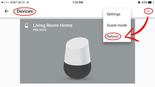 Reboot Google Home Device