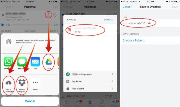 Save iPhone Voicemail to Cloud