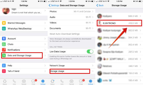 WhatsApp Storage Usage Details