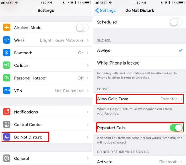 iPhone DND Call Exceptions