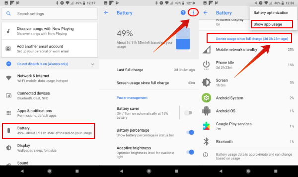 Android Show App Usage for Battery