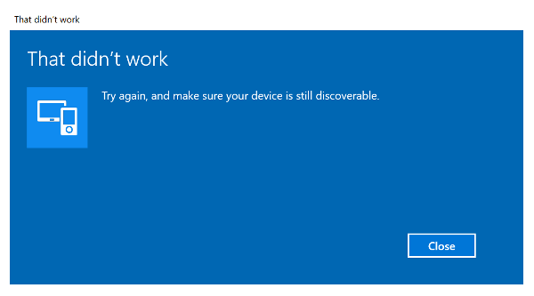 Windows 10 Bluetooth device not Pairing