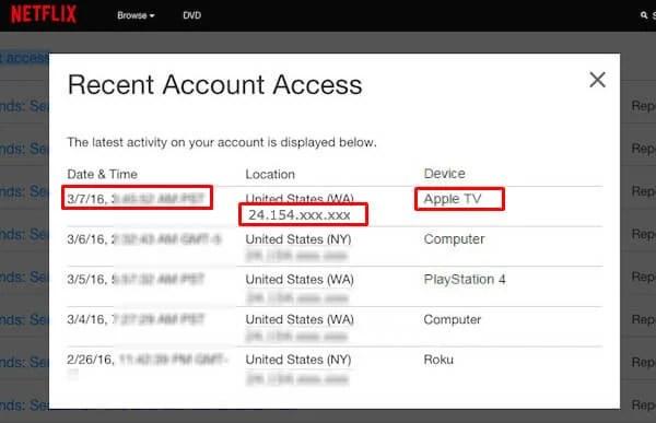 Netflix Recent Activity IP