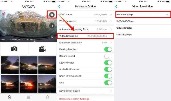 VAVA Dashcam App Setting