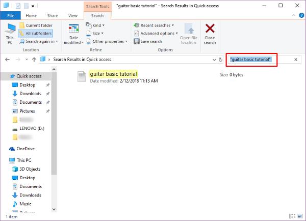 Windows 10 Boolean Quote Search