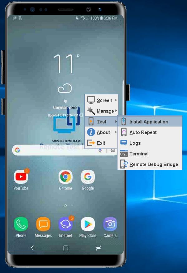 Install applications Samsung Remote Test Lab