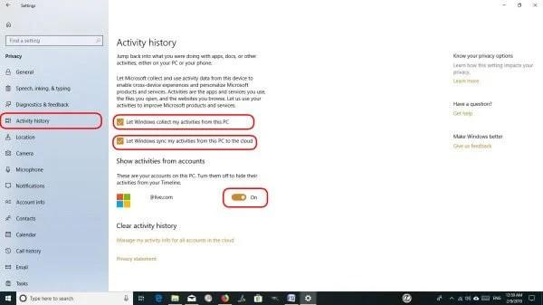 Windows 10 Timeline Activity History
