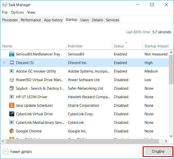 Disable Windows 10 Startup Programs gaming optimization