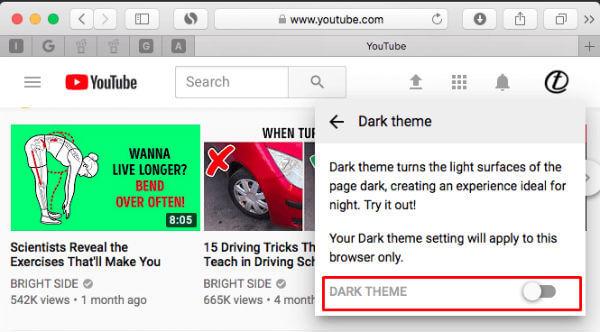 YouTube Desktop Darktheme Settings