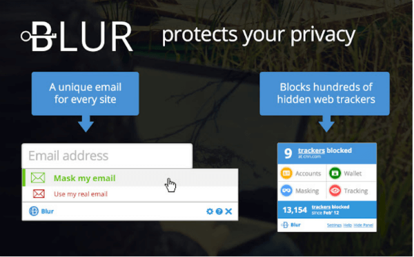 Blur Browser extension - privacy protection