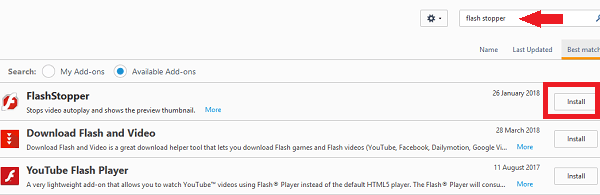 stop auto play videos by Flash stopper for Firefox