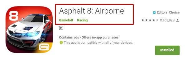 Google Play Store Asphalt 8 original