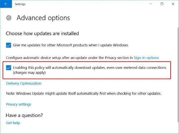 Windows 10 Automatic update settings gaming optimisation