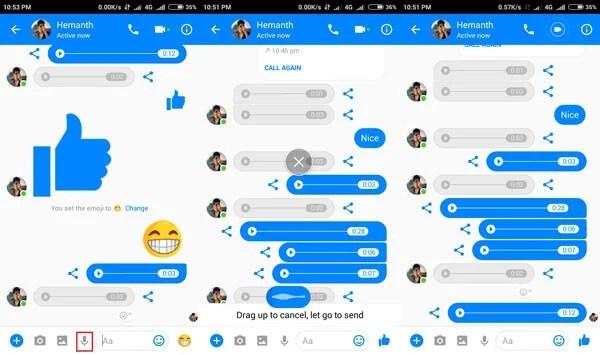 voice messege in facebook messenger