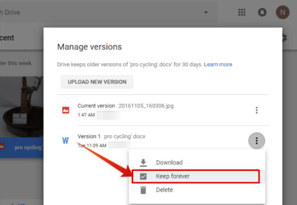 Google Drive File Version Keep Forever