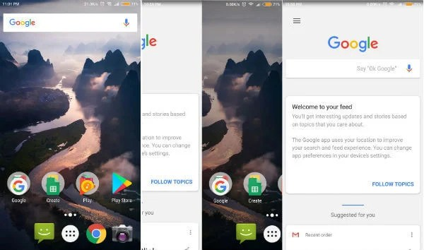 Google Now Launcher to get Google Search Bar on the Home Screen