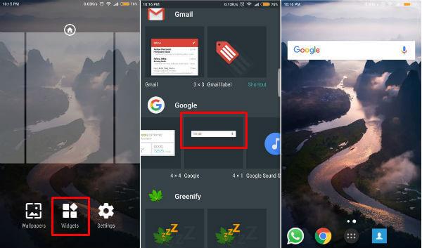 Google Search Bar widget