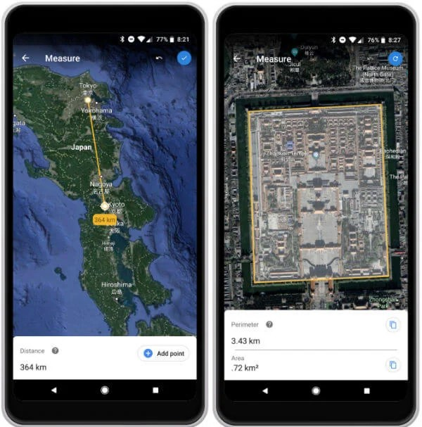 Android Google Earth Measure