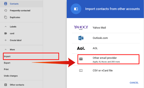 Google Contacts Import from Email
