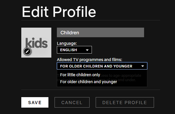 Windows chrome netflix edit kids profile