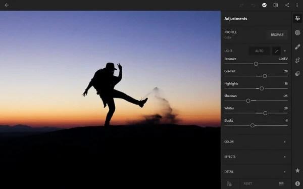android Lightroom raw image editor