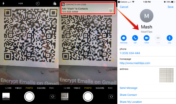QR Code to Add Contacts iPhone