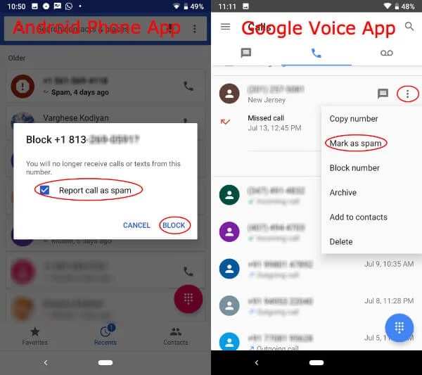 Report Spam Android Google Voice