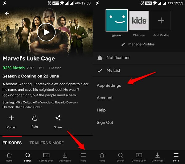 android netflix app settings