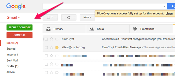 windows chrome gmail flowcrypt