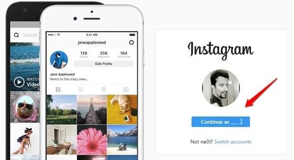 windows chrome instagram facebook sign in