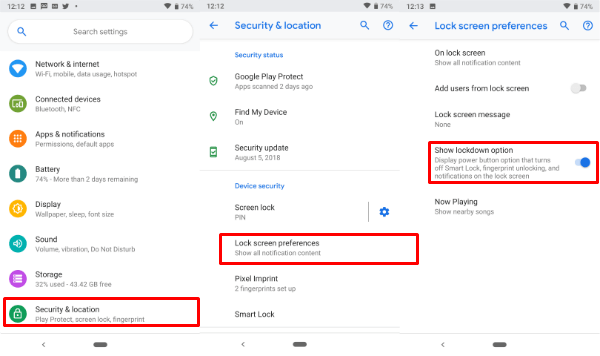 Enable Lockdown Android Pie