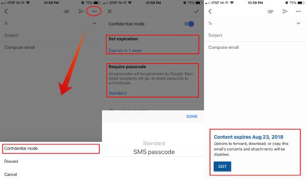 Gmail App Confidential Mode iOS
