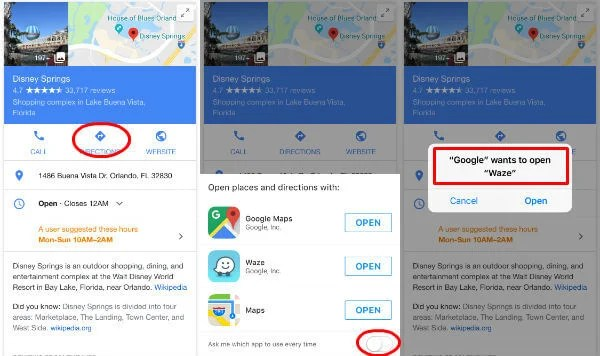 Google Set Default Map iPhone