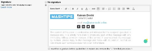 HTML Signature in Gmail