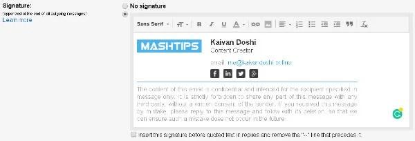 editing gmail signature