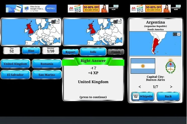 android world geography quiz game
