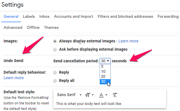 gmail default text style