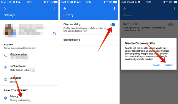 How to disable discoverability in Google Pay Tez