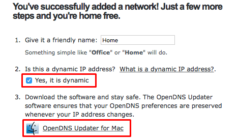 Open DNS Add Home Network