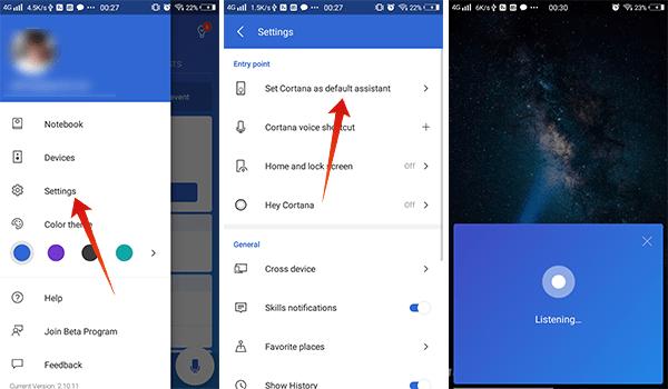 Set Cortana as default assistant