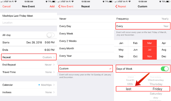 iOS Calendar Monthly Recurring