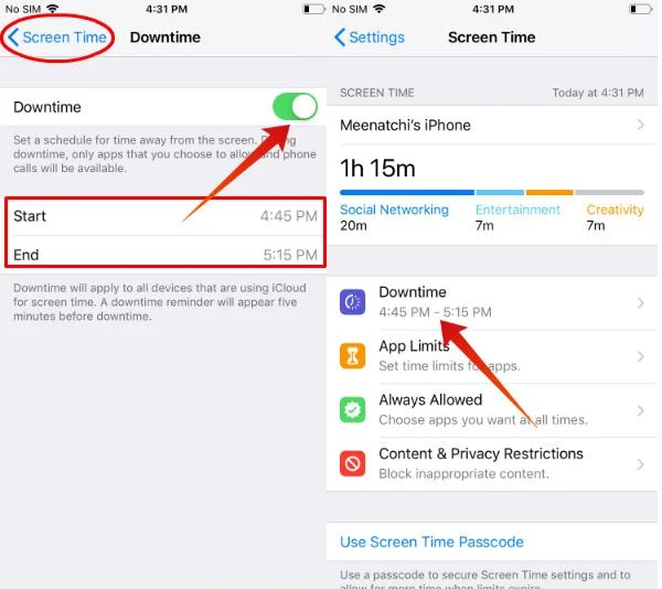 iPhone Set Downtime Schedule