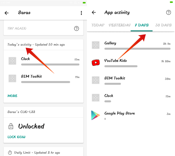 Android family link view report