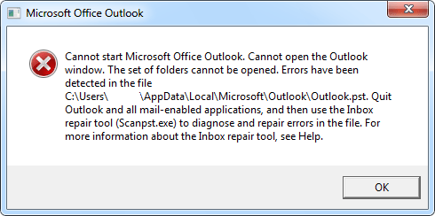 Microsoft Outlook incorrect PST file error example